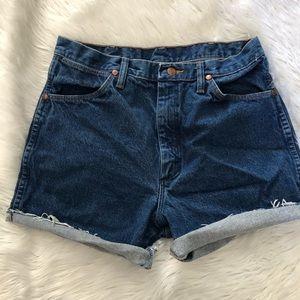 Wrangler Denim Vintage High Waisted Cut Off Shorts